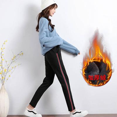 秋冬新款运动裤子女学生韩版宽松显瘦韩版哈伦裤直筒黑色裤子女