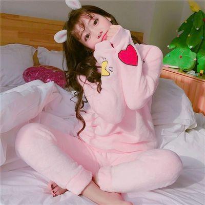 珊瑚绒睡衣女秋冬季毛茸茸日系可爱冬天加绒加厚法兰绒套装家居服