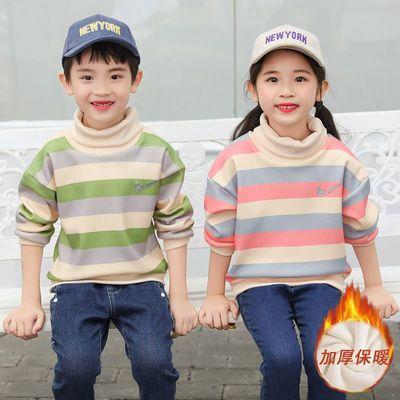 女童加绒卫衣秋冬加厚儿童高领打底衫男童保暖衣上衣中小童宝宝