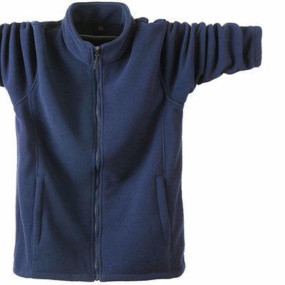 抓绒男士立领开衫大码运动男摇粒绒卫衣服秋冬季款中老年男外套