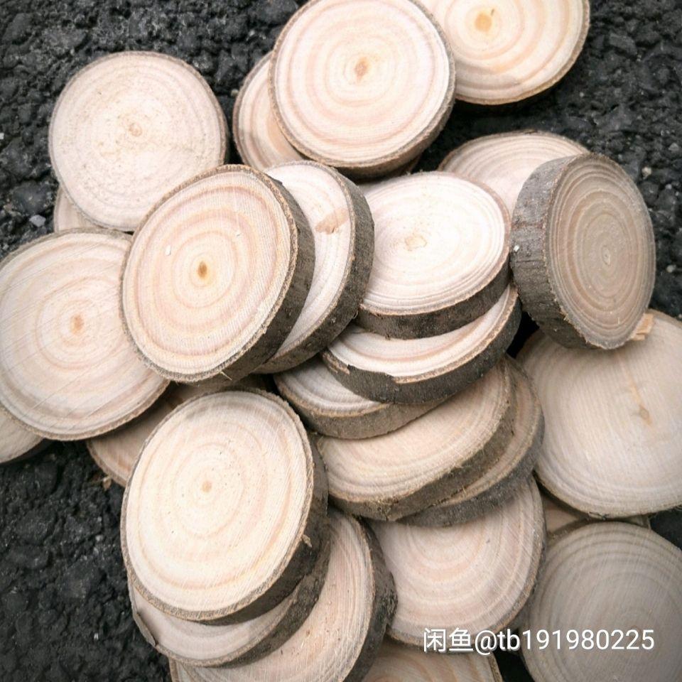 年轮圆木片幼儿园环创教学木片绘画装饰木块木头原木片手工制作