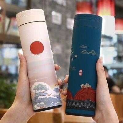 国潮保温杯中国风大容量智能测温男士车载办公室泡茶水杯网红杯子