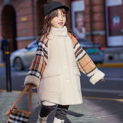 女童外套秋冬2020新款童装潮女孩上衣加厚羊羔绒长款儿童毛毛衣拼多多优惠券领取