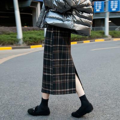 93073/包臀裙韩版宽松中长款格子半身裙女秋冬复古高腰开叉一步裙a字裙
