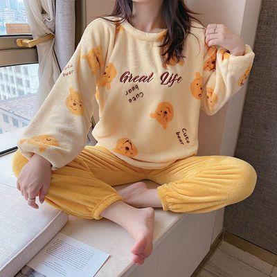 秋冬季珊瑚绒睡衣女学生ins甜美套头加厚保暖法兰绒家居服冬套装