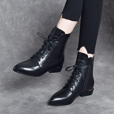 中跟马丁靴女英伦风瘦瘦靴2020年新款真皮粗跟短靴春秋季单靴女鞋