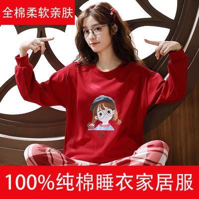 100%纯棉睡衣秋女春秋季新款长袖长裤纯棉学生ins全棉家居服套装