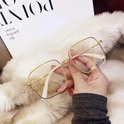 小红书水钻石边方框近视眼镜女网红款大脸可配度数素颜显瘦眼睛架