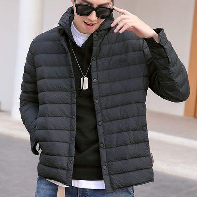 男士轻薄羽绒服短款休闲潮流立领外套保暖加绒2020冬季新款白鸭绒
