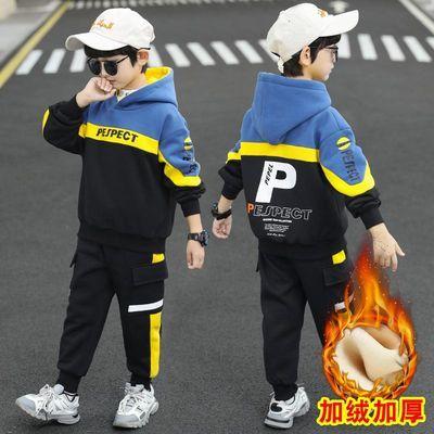 男童秋冬款加绒卫衣套装儿童加厚两件套2020新款男孩中大童冬装潮