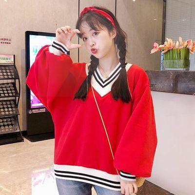 秋冬季新款加绒加厚卫衣女学生韩版宽松V领拼接条纹时尚套头外套