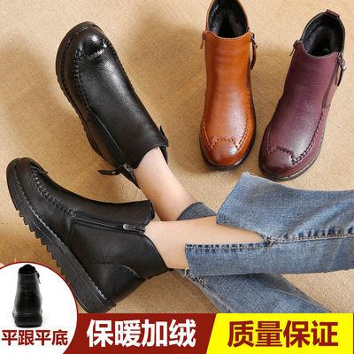 妈妈鞋棉鞋冬季加绒保暖平底软底防滑短靴中年女靴中老年人皮棉鞋