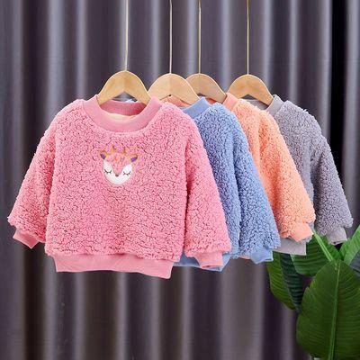 男童女童秋冬款加绒加厚卫衣2020新款儿童羊羔毛上衣童装保暖外套
