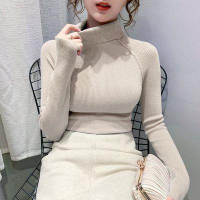 秋冬新款纯色针织衫女时尚修身显瘦长袖上衣套头内搭高领打底毛衣