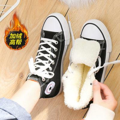 2020新款加绒加厚高帮帆布鞋女学生韩版冬季棉鞋nis百搭二棉鞋女