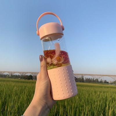 韩版ins风简约硅胶玻璃杯可爱少女心水杯子便携健康泡花茶水杯子