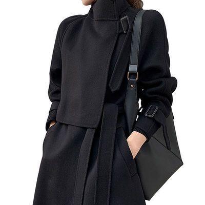 欧韩高端气质羊绒羊毛双面呢女纯黑色立领显瘦风衣款中长大衣外套