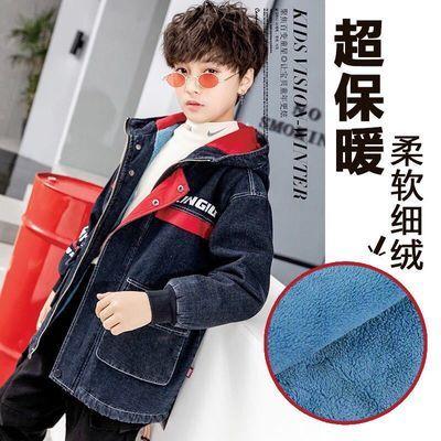 儿童秋冬款男童加绒外套加厚保暖中大童牛仔童装韩版冬装款夹克款