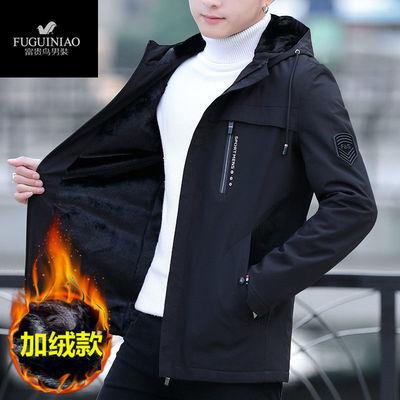【富贵鸟】外套男秋冬装加绒加厚男士外套夹克潮流帅气宽松高档男