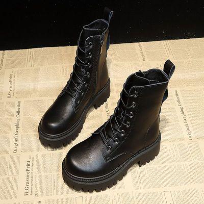 黑色马丁靴女冬英伦风秋季2020新款靴子女短靴加绒学生韩版百搭潮
