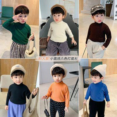 2020新款童装男童长袖t恤秋冬加厚宝宝保暖上衣半高领儿童打底衫