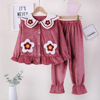 女童睡衣珊瑚绒冬季加厚款儿童公主法兰绒宝宝女孩家居服秋冬套装