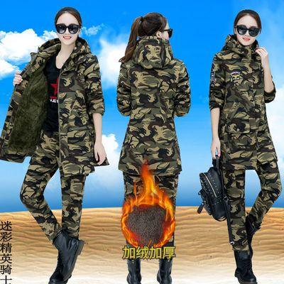 新款冬季迷彩服棉衣套装女中长款加绒加厚保暖棉服大码工装外套潮