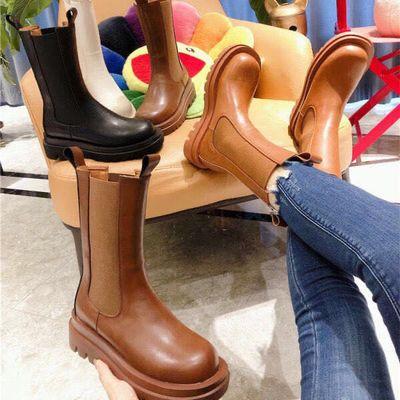 真皮网红短靴女同款鞋切尔西靴子b厚底v高筒靴马丁靴夏季薄款