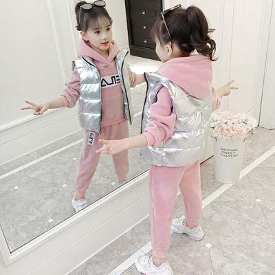 三件套/两件女童套装秋冬装中大童新款金丝绒洋气女孩加绒加厚7韩