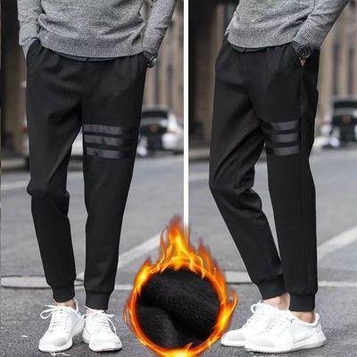 男士运动工作裤收口哈伦裤休闲裤青年卫裤运动裤加绒裤修身大码潮