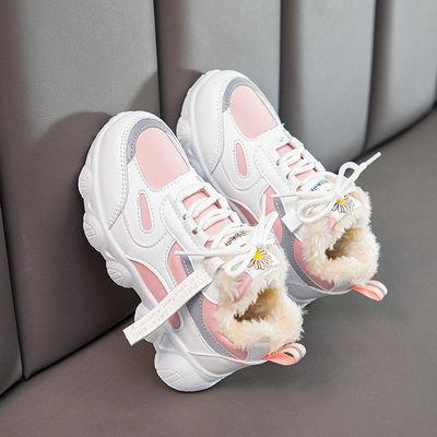 儿童运动鞋男女童老爹鞋2020秋冬新款韩版中大童皮面加绒小学生鞋