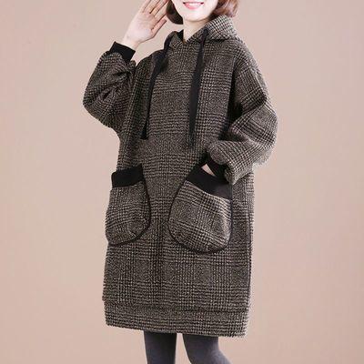 大码胖mm连帽加绒加厚毛呢外套女秋冬中长款韩版宽松显瘦格子卫衣