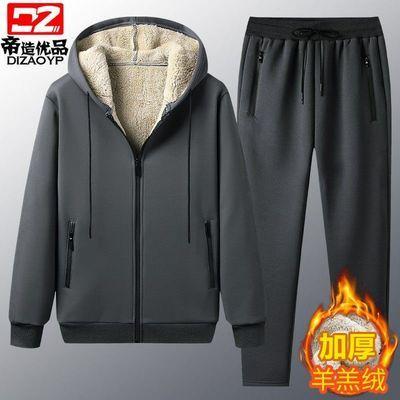 加绒套装男加厚羊羔绒运动休闲套装冬季保暖衣服裤子男装冬装外套