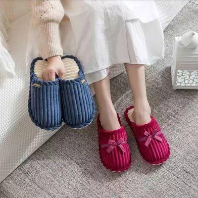 家用秋冬棉拖鞋女情侣新款室内防滑家居灯芯绒棉拖鞋男