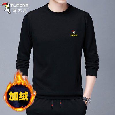 【加绒加厚/常规】啄木鸟冬季男士圆领t恤男装套头卫衣长袖打底衫