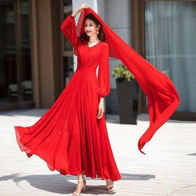 71672/女装雪纺连衣裙2021新款大红色超长款沙滩裙海边度假长袖大摆长裙