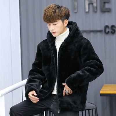 男装冬装外套加绒加厚仿皮草连帽新款水貂绒短款派克服男貂皮大衣