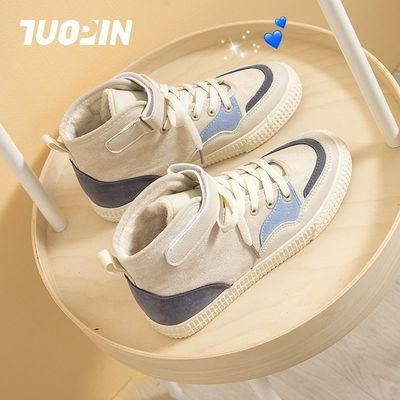 鮀品蛮蛮高帮帆布鞋女学生韩版百搭冬季2020最新款加绒保暖二棉鞋