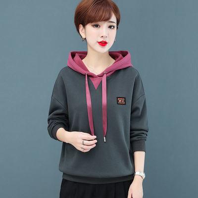 带帽卫衣女秋冬2020新款韩版宽松加绒厚中年妈妈减龄长袖外套上衣