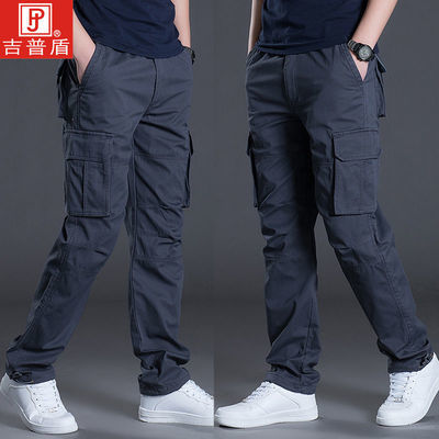 吉普盾冬款男裤运动加厚宽松多口袋工装裤加绒直筒长裤休闲裤子潮