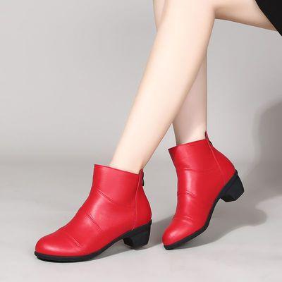 短靴女秋冬软底妈妈鞋粗跟舒适广场舞跳舞鞋单靴中跟加绒棉靴靴子