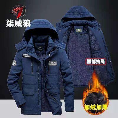 柒威狼冬装棉衣男加绒加厚大码中长款棉服工装保暖棉袄外套爸爸装