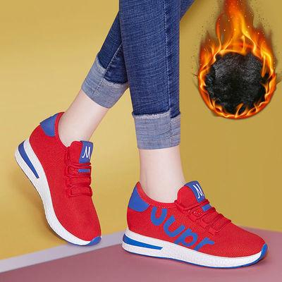 红色运动跑步鞋女2020新款冬季休闲鬼步舞保暖加绒轻便软底红鞋秋