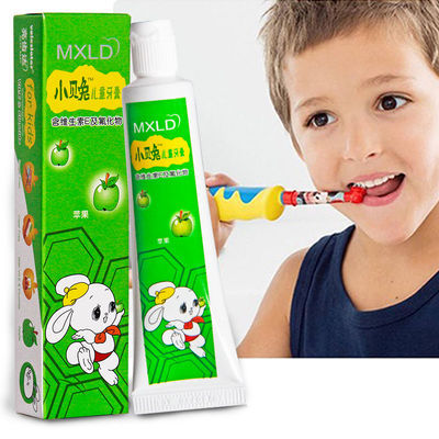 正品小贝兔儿童牙膏牙刷套装3-12岁苹果草莓水果味香型换牙期防蛀