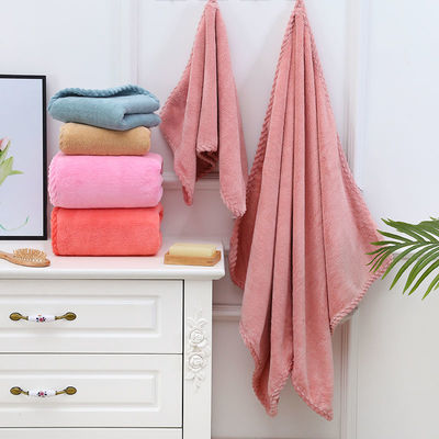 加厚浴巾+毛巾套装批发家用可裹巾珊瑚绒大浴巾强吸水不掉毛