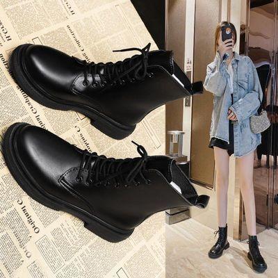 马丁靴子女英伦风2020秋冬新款瘦瘦单靴加绒中筒骑士短靴子ins潮