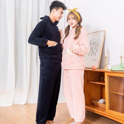 情侣连帽加厚保暖睡衣套装珊瑚绒可爱甜美秋冬季舒棉绒休闲家居服