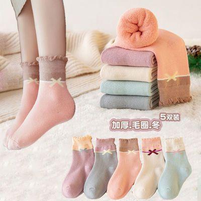 毛圈袜儿童袜子冬加厚毛巾袜女孩中筒袜中大童保暖厚袜子宝宝袜