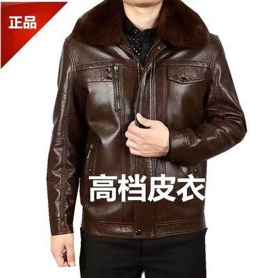 中老年皮衣男外套加绒加厚秋冬季男士棉衣爸爸老年人皮上衣