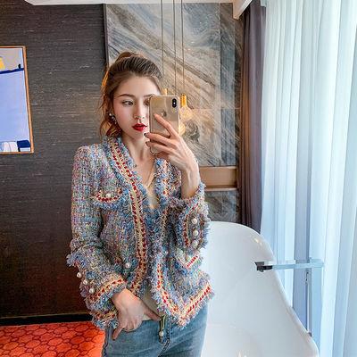 72305/2021秋冬新款小香风外套女法式珍珠扣金丝边显瘦气质名媛网红上衣